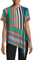 Diane von Furstenberg Striped Silk Asymmetric T-Shirt, Multicolor