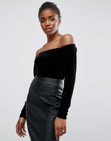 Minimum Velvet Off The Shoulder Top