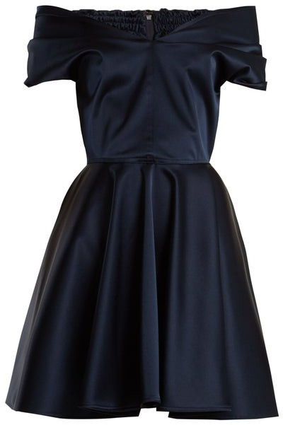 Emilio De La Morena Tamara Off The Shoulder Stretch Silk Dress - Womens - Navy