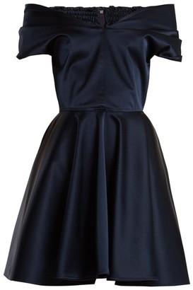Emilio De La Morena Tamara Off-the-shoulder Stretch-silk Dress - Womens - Navy