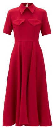 Emilia Wickstead Alice Point-collar Crepe Midi Dress - Pink