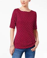 Karen Scott Cotton Dot Elbow-Sleeve Top, Created for Macy's