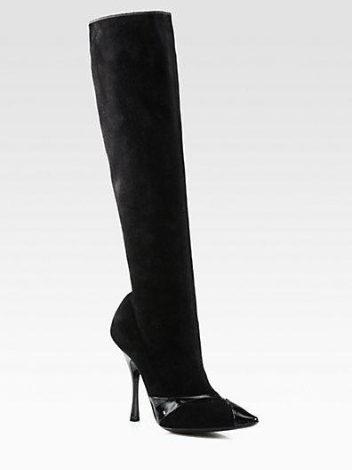 Bottega Veneta Suede & Patent Leather Boots