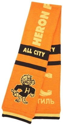 Heron Preston Dragon Jacquard Ribbed Trim Scarf