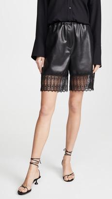 Self-Portrait Faux Leather Lace Trim Bermuda Shorts