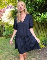 Thumbnail for your product : Monki Robin poplin cotton smock dress in black