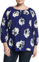 Vince Camuto Long-Sleeve Floral-Print Blouse, Night Tide, Plus Size