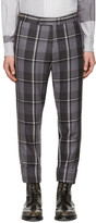 Thom Browne Grey Wool Plaid Trousers