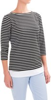 FDJ French Dressing Nautical Stripe Fooler Shirt - Elbow Sleeve (For Women)