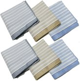 OWM Handkerchiefs Set of 6 Gift Set Pure Cotton striped Handkerchiefs for Men
