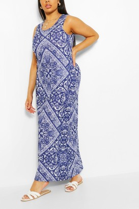 boohoo Plus Tile Print Scoop Neck Maxi Dress