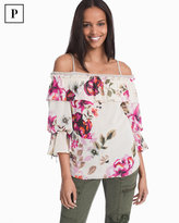 White House Black Market Petite Off-the-Shoulder Floral Drama Sleeve Blouse