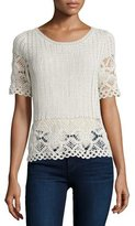 Joie Alizeh B Crocheted Short-Sleeve Top