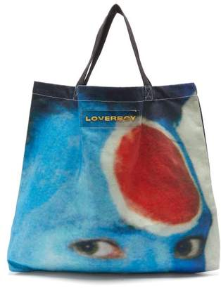 Charles Jeffrey Loverboy Face-print Cotton-canvas Tote Bag - Womens - Blue Multi