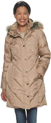 London Fog Tower By Women's Tower by Quilted Faux Fur Trim Down Coat