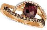 LeVian Le Vian Chocolatier Rasberry Rhodolite (1-1/6 ct. t.w.) & Diamond (1/4 ct. t.w.) Ring in 14k Rose Gold