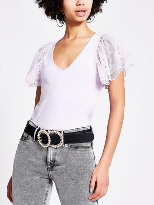 River Island Mesh Frill Sleeve T-shirt - Lilac