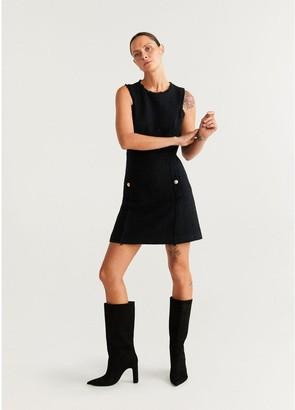 MANGO Tweed Pinafore Dress - Black