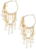 BP Women's Faux Pearl Dangle Hoop Earrings