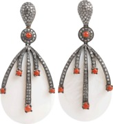 Mother of Pearl DORIE LOVE Mother of Pearl, Diamond and Coral Drop Earrings