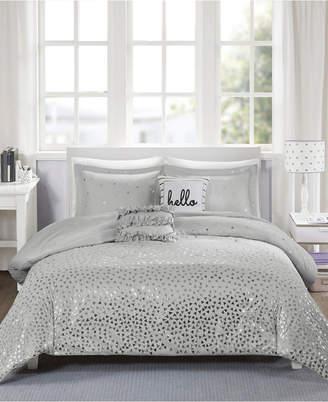 Zoey Intelligent Design King/California King 5 Piece Metallic Triangle Print Duvet Cover Set Bedding