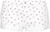 Current/Elliott The Girlfriend Printed Stretch-denim Shorts - White
