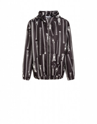 Moschino All Over Zip Technical Jacket Man Black Size 46 It - (36 Us)