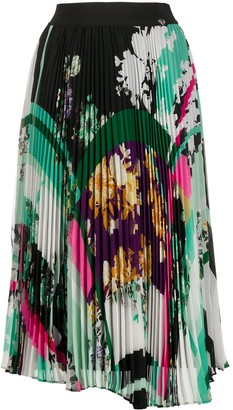 Twin-Set Floral-Print Pleated Skirt