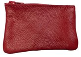 AimTrend Men's Leather Zippered Coin Pouch Change Holder