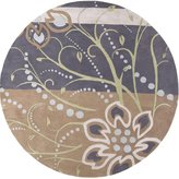 """Surya 8' X 8' Round Area Rug Ath5128-8rd Natural Color Hand Tufted In India """"athena Collection"""" Floral Pattern"""