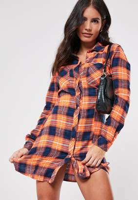 Missguided Orange Check Shirt Dress