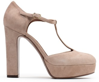 L'Autre Chose Dorsey T-Bar Nude Suede Platform Shoes