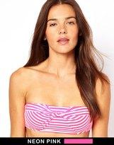 Coco Rave Stripe Knotted Bandeau Bikini Top