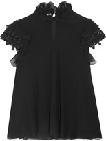 Giambattista Valli Guipure Lace-trimmed Ruffled Silk-georgette Top - Black