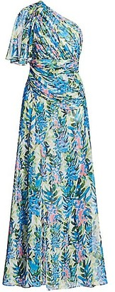 Badgley Mischka Floral Print Asymmetrical Gown