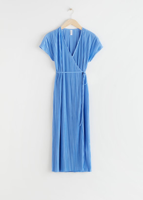 And other stories Plisse Pleated Wrap Midi Dress