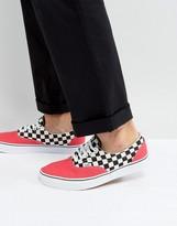 Vans Era Checkerboard Plimsolls In Red Va38frmv5