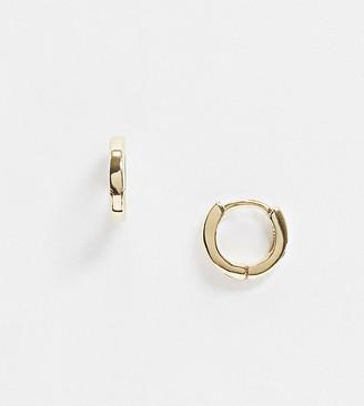 Asos Design DESIGN sterling silver with gold plate huggie hinged hoop earrings