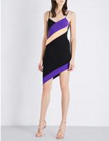David Koma Striped stretch-knit mini dress