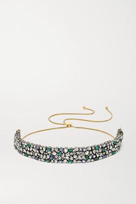 Amrapali Sterling Silver-plated 18-karat Gold Multi-stone Necklace - Green