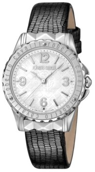 Roberto Cavalli By Franck Muller Women's Swiss Quartz Gray Leather Strap Watch, 34mm