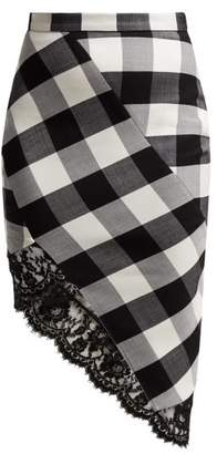 Altuzarra Vichy Lace Trimmed Checked Wool Blend Skirt - Womens - Black White