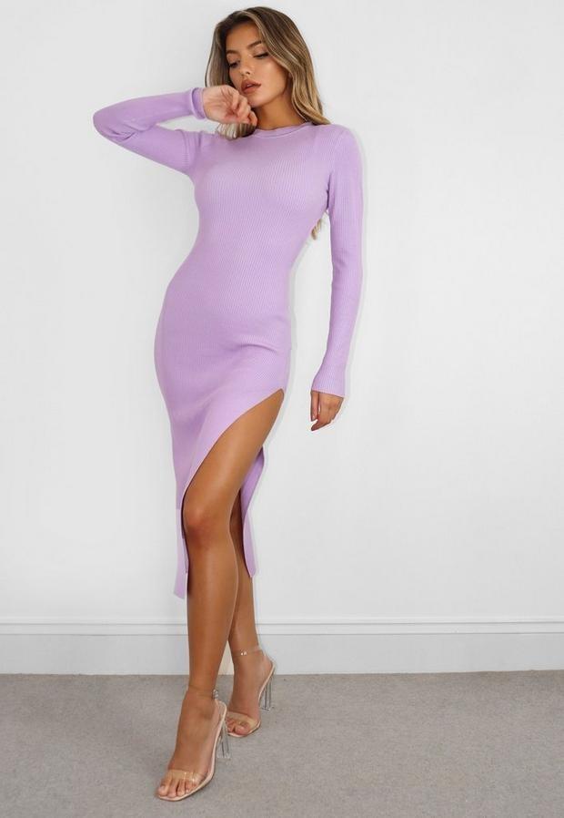 Missguided Lilac Knit Crew Neck Midi Dress