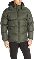 Avia Men's Puffer Jacket with Removable Hood, Black/Barn Red, Medium