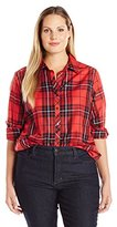 Foxcroft Women's Plus Size Long Sleeve Holiday Tartan Tunic