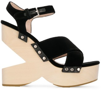 Miu Miu Cut-Out Wedge Sandals