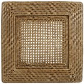 Caspari Rattan Dinner Plate Charger, Square, Natural