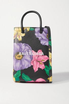 Balenciaga Shopping Mini Floral-print Textured-leather Shoulder Bag - Pink