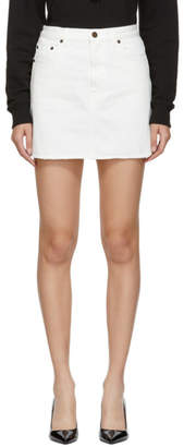 Saint Laurent White Denim Miniskirt
