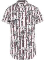 River Island Boys dark red floral stripe shirt